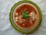 Summer-in-winter tomato arugula soup