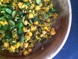 Summer squash and chickpeas with olives, raisins and basil