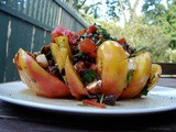 Tomato steaks au poivre; Semolina dumpling baked in tomatoes; roasted red salad stuffed heirloom