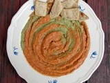 Walnut crackers with smoky tomato/pesto white bean dip