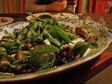 Warm salad with roasted mushrooms and tiny roasted potatoes and tarragon-white wine dressing