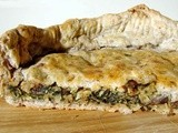 White bean, spinach and roasted mushroom pie with pecan sage crust
