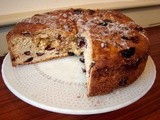 Yule cake with cranberries and chocolate chips