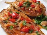 A Turkish Classic; Eggplants stuffed with onion, garlic and tomatoes in olive oil; Imam Bayildi