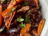 Baked beetroots, celeriac, carrots and green lentils with pomegranate molasses