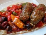 Lamb Kebabs with Pistachios on Flat Bread- this time- in Cherry & Tomato Sauce And Turkish Cookery Classes Coming in England & in Austin-Texas