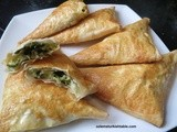 Spinach and cheese filled filo pastry triangles; Muska Boregi