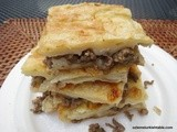 Tray bake filo pastry with ground meat and onions; Kiymali Borek