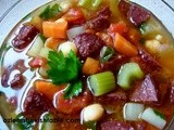 Vegetable & Chickpea Soup with a Delicious Twist- Try sautéed Turkish spicy sausage, Sucuk on top! & Istanbul Calling in February