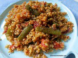 Wholesome Bulgur Pilaf with Freekeh, Green Beans and Red Onions