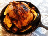 Dinner is: Iron-Skillet Roast Chicken with Acorn Squash, Red Onions and Bacon