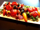 Grilled Vegetable Kabobs in White Wine and Honey Marinade