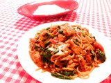 Pasta w/Ground Turkey, Spinach and Tomatoes