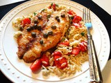 Tilapia Piccata-Style over Parsley and Tomato Orzo