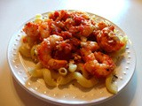Well-seasoned Sautéed Shrimp w/Tomatoes, White Wine, Cavatappi and Feta