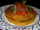 Corn pancakes with tomato mint salsa