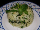 Mint rice in coconut milk