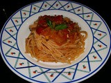 Spaghetti with exotic vegetables