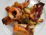 Baked Calamari with Swiss chard and Fennel - Greek recipe