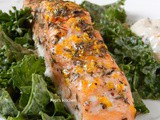 Baked Salmon with Kale Salad and Sesame Oil, Garlic and Ginger Dressing
