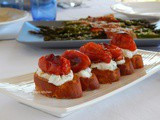 Bruschetta with Ricotta and Roasted Cherry Tomatoes - Asparagus Wrapped in Bacon + Menu for 4