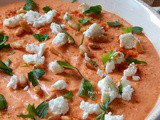 Hummus with Roasted Red Peppers and Feta Cheese