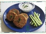 Baked Lentil, Potato and Red Pepper Savory Cakes (Patties) with Yogurt-Mint Dip