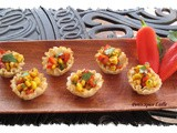 Corn and Red Pepper Fiesta Chaat in Mini-Fillo Cups