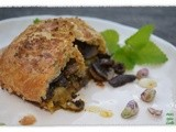 Savory Saffron Pistachio and Mushroom Strudel…a Global Indian Creation