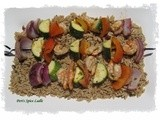 Shashlik-style Shrimp and Vegetable Kebab Served on Lemon-Thyme Orzo Pasta