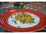 Slow-Cooked Indian Lentils and Spinach served over Basmati Rice: Palak Chana Daal