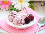 Cherry Ice Cream with Cashews and Marshmallows