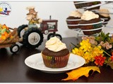 Chocolate Pumpkin Cupcakes with Orange Cream Cheese Frosting