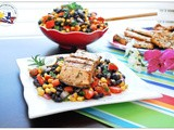 Grilled Lemon Rosemary Salmon with Black Bean Salsa