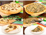 New York Style Pizza: Cheese Stuffed Crust Bratwurst Onions Pizza and Spinach Anchovies Pizza