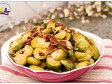 Oven Roasted Brussels Sprouts with Bacon and Roasted Pecans