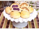 Pan de Coco and Pan de Ube (Coconut and Purple Yam Rolls)