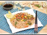Pancit Bihon with Stir-Fried Ground Beef and Mixed Vegetables