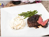 Pepper Crusted Filet Mignon with Balsamic Red Wine Sauce