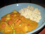 Comfort Food at Its Best: Potatoes & Peas In Coconut-Curry Sauce