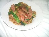 Rare Roast Beef and sweet chilli stir-fry