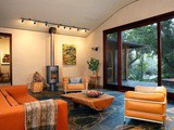 Orange Couch Living Room