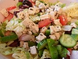"Classic Greek Salad with Herbed Tofu ""Feta"""