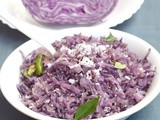 Purple Cabbage Poriyal / Purple Cabbage Stir fry - South Indian Style