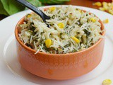 Spinach Corn Rice / Spinach Corn Pulao( Pulav)- Easy lunch Box Recipe