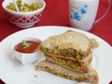 Sprouts Potato Sandwich / Healthy Sprouts Sandwich / Sprouts Masala Sandwich