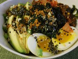 Sorghum and Kamut Bowl With Kale, Kimchi and Egg
