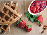Banana Buttermilk Waffles with Strawberries and Pecans