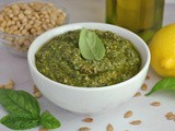 Basil Pesto with Pine Nuts, Sunflower Seeds, and Lemon