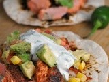 Blackened Salmon Tacos with Corn Salsa and Cilantro-Lime Ranch